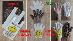 Since disposable gloves are very low quality in the market, they break down quickly or are expensive, this way you can make quality gloves at home. Disposable Gloves, Plastic, Diy Crafts, Make It Yourself, How To Make, Bags, Gloves, Bricolage, Purses