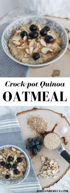 Crockpot Quinoa Oatmeal - A healthy and easy breakfast made with steel cut oats…