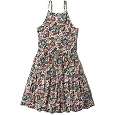 Abercrombie & Fitch Floral Tiered Swing Dress (405 ZAR) ❤ liked on Polyvore featuring dresses, vestidos, cream floral, abercrombie & fitch, strappy dress, tent dress, viscose dress and floral pattern dress