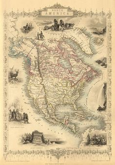 """Antique North America map  Print - 16 x 23 """"..excellent source for gorgeous maps"""