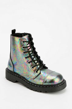 iridescent | mother-of-pearl | gleaming | shimmering | metallic rainbow | shine | anodized | holographic | oil slick | peacock | iridescence | T.U.K. Oil Slick Combat Boot #UrbanOutfitters