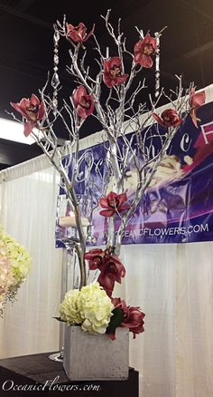 Purple and White Large Centerpiece, Silver Manzanita Tree