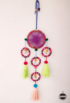 5 Rings Tassels Round Hanging w Large Tassels, Beads, Shells, Pom Pom, Dream Catcher, Baby Crib, Embroidery