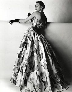 Gown by Pierre Balmain, 1953, photo by Willy Maywald.