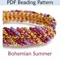 Bohemian Summer Ladder Stitch Bracelet PDF Beading Pattern |