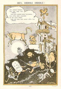 Date and illustrator unknown Vintage Flower Prints, Vintage Flowers, Nursery Rhymes Poems, Hey Diddle Diddle, Humpty Dumpty, Vintage Nursery, Children's Book Illustration, Antique Prints, Little Dogs