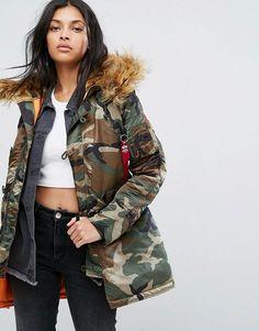 Alpha Industries Camo Polar Parka Jacket with Faux Fur Hood - Green