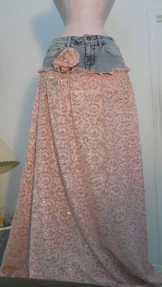 Bohemian jean skirt gorgeous ecru lace tiered ruffled frou frou Renaissance Denim Couture bohemian fairy goddess Made to Order Lace Jeans, Denim And Lace, Modest Fashion, Diy Fashion, Fashion Outfits, Mauve, Recycled Denim, Clothes Crafts, Vintage Skirt