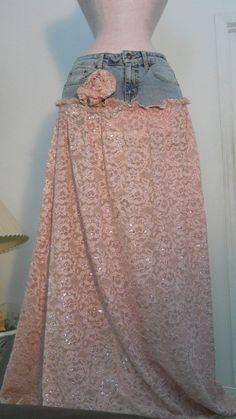 mauve lace jean skirt