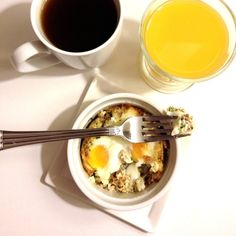 Eggs en Cocotte (eggs baked in herbs and bacon)