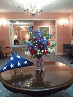 red and white blue vase arrangement for veteran funeral Remembrance Flowers, Memorial Flowers, Funeral Floral Arrangements, Vase Arrangements, Grave Decorations, Patriotic Decorations, Funeral Memorial, Memorial Day, Funeral Planning