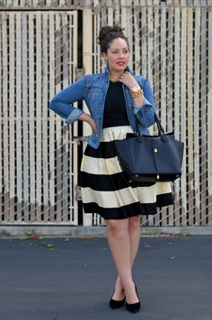 Girl With Curves: Striped. Ralph Lauren Jacket, Forever21 Tee,Earrings thanks to ByBoe, Vintage Necklace & Bracelet, Michael Kors Watch, Kate Spade Dress worn as Skirt, Michael Kors Bag, Sam Edelman Pump