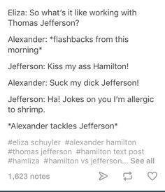 I'm allergic to shrimp  Alexander tackles Jefferson