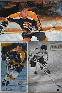 Three of Bobby Orr by Glen Green. Ice Hockey Teams, Hockey Players, Hockey Highlights, Milan Lucic, Phil Esposito, Don Cherry, Patrice Bergeron, Maple Leafs Hockey, Bobby Orr