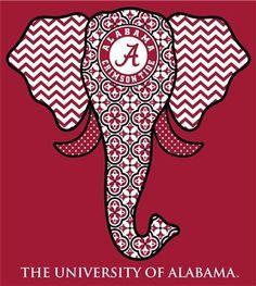 Southern Couture Alabama Crimson Tide Bama Tribal Chevron Elephant Long Sleeve Girlie Bright T Shirt