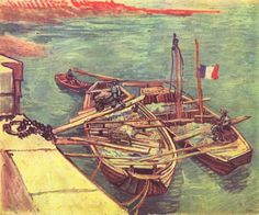 부두에 묶인 모래 실은 배 (Quay with Men Unloading Sand Barges)  빈센트 반 고흐(Vincent Van Gogh)