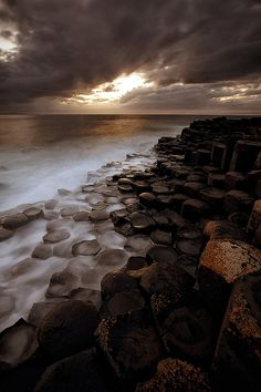 Giant's Causeway in Ireland, result of an ancient volcanic eruption.