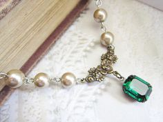 Emerald Necklace Pearl Choker Emerald Green Jewelry Almond Pearls ...