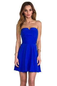 Amanda Uprichard Harper Dress with Bowery Skirt in Royal from REVOLVEclothing