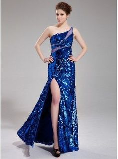 35184983a Sheath Column One Shoulder Floor Length Tulle Sequined Prom Dress With  Beading Split Front 018019689 g19689
