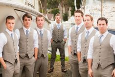 Rustic wedding - groomsman suits with vests - Bodega Bay, CA
