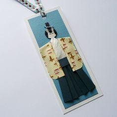 Handmade samurai paper doll origami bookmark by TeruTeruDesigns, $2.40