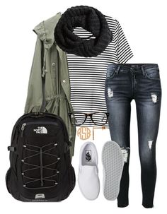 """""""School tomorrow"""" by ambermillard ❤ liked on Polyvore featuring Monki, 7 For All Mankind, Vans, The North Face, Muse and H&M"""