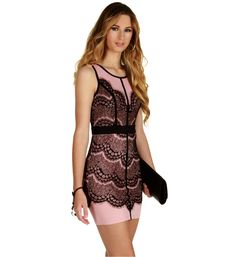 Tickle Me Pink Lace Bodycon