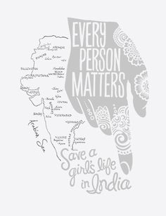 This week's art purpose is to shed light on the lives of young girls that are stolen from their destinies in India. The henna inspired hand pointing aside a map of India we thought provided a look into the beautiful culture of these people.
