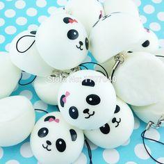 1PCS 4cm Mini Panda Squishy Key Chains Cartoon Buns Bread Bag Cell Phone Straps