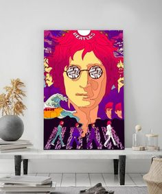 tableau-beatles-pop-art-2 John Lennon, Tableau Pop Art, Portrait, The Beatles, Tapestry, Decoration, Sketches, Drawings, Art