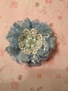 Shabby Blue Lace Flower handmade by Juana