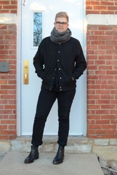 Rocking #warbyparker, #americanapparel, and #mackjames in this black-on-black ensemble