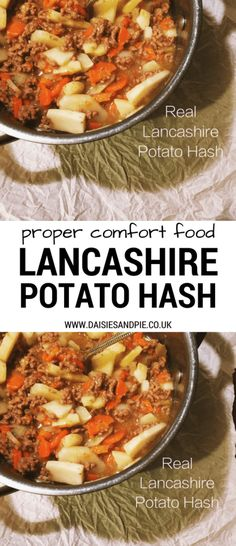 Cook up a pan of traditional Lancashire potato hash - perfect for an easy Bonfire Night supper - serve with red cabbage, crusty bread and loads of pickled beetroot and brown sauce - deeeeeliccious