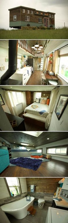 A tiny house with a cute floor plan. The Big Country has plenty of space for a family with its main floor bedroom and two lofts. Each bedroom loft has a skylight and they are connected by a catwalk. Small Tiny House, Tiny House Living, Tiny House Plans, Tiny House Design, Tiny House On Wheels, Home Design, Small Houses, Tiny House Family, Small Cabins