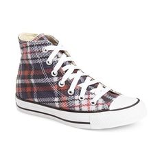 Converse Chuck Taylor All Star Plaid High Top Sneaker ($60) ❤ liked on Polyvore featuring shoes, sneakers, laced shoes, plaid sneakers, converse trainers, plaid shoes and tartan shoes