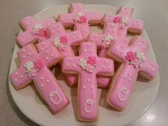 Pink christening cross sugar cookie favors by: MerciBeauCookies.blogspot.com