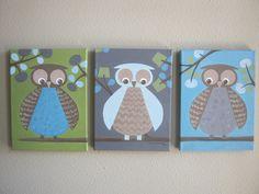 Owl PRINTS for nursery to match Dwell Studio Owl Sky bedding, 8x10 prints. $45.00, via Etsy.