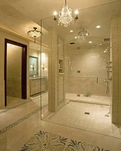 : Traditional White Master Bathroom Interior Enhanced With Mini Chandelier To Brighten Shower Vanity And Floor