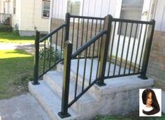 Concrete Front Steps Design Ideas Sleek Front Step Railings 333652 Home Design Ideas Porch Step Railing, Outdoor Stair Railing, Porch Stairs, Front Stairs, Railing Ideas, Front Doors, Wood Railing, Concrete Front Steps, Cement Steps