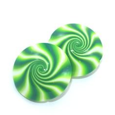 Polymer Clay beads in greens and white Swirl by ShuliDesigns, $5.00 #clay #Fimo #beads #ShuliDesigns #Handmade