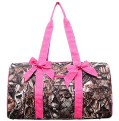 Pink and Camo Large Barrel Duffle Bag with Detachable Bows