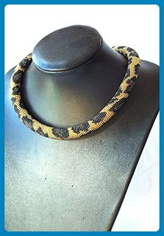 Beaded necklace with leopard skin print, gold brown necklace - Wedding nacklaces (*Amazon Partner-Link)