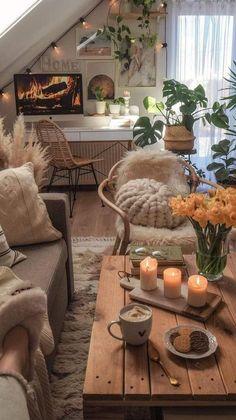 Table Decor Living Room, Boho Living Room, Small Living Rooms, Room Decor Bedroom, Living Room Designs, Earthy Living Room, Earthy Home Decor, Futuristic Interior, Condo Decorating