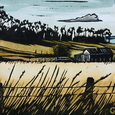 How I love a good linocut! Linocut Print Hand Painted Tasmanian Landscape by trees4thewood, $50.00