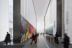 Imagem 29 de 47 da galeria de One World Trade Center / SOM. One World Trade Center, Trade Centre, Office Entrance, Office Lobby, Office Reception, Reception Ideas, Lobby Interior, Lobby Design, Hotel Lobby