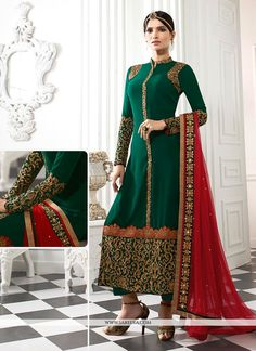 An superb green georgette designer straight salwar kameez will make you appear too stylish and graceful. The desirable embroidered and patch border work a intensive element of this attire. Comes with ...
