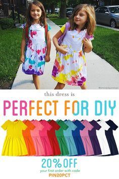 DIY Alert! We love this tie-dye transformation. Our solid-color basics are perfect for DIY. Shop our collection of super soft dresses, tees, tanks and shorts for your next project. New friends get 20% off a first order with code PIN20PCT and FREE shipping always!