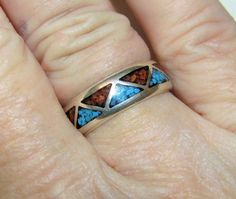 Estate Vintage Natural Turquoise & Coral Band 925 Sterling Silver Ring Sz 6.25