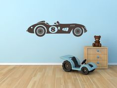 Race Car Wall Decal Vintage Race Car for Boys or Childs Room Vinyl Wall Decal for Home Decor 26x7""